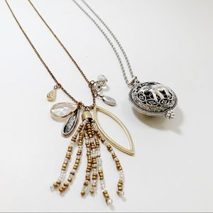 Long Boho Charm and Elephant Locket Necklace Set
